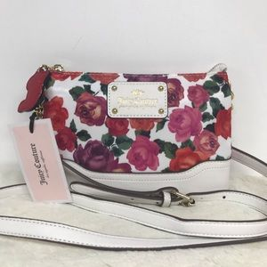 Juicy Couture Crossbody Purse White Floral Purple